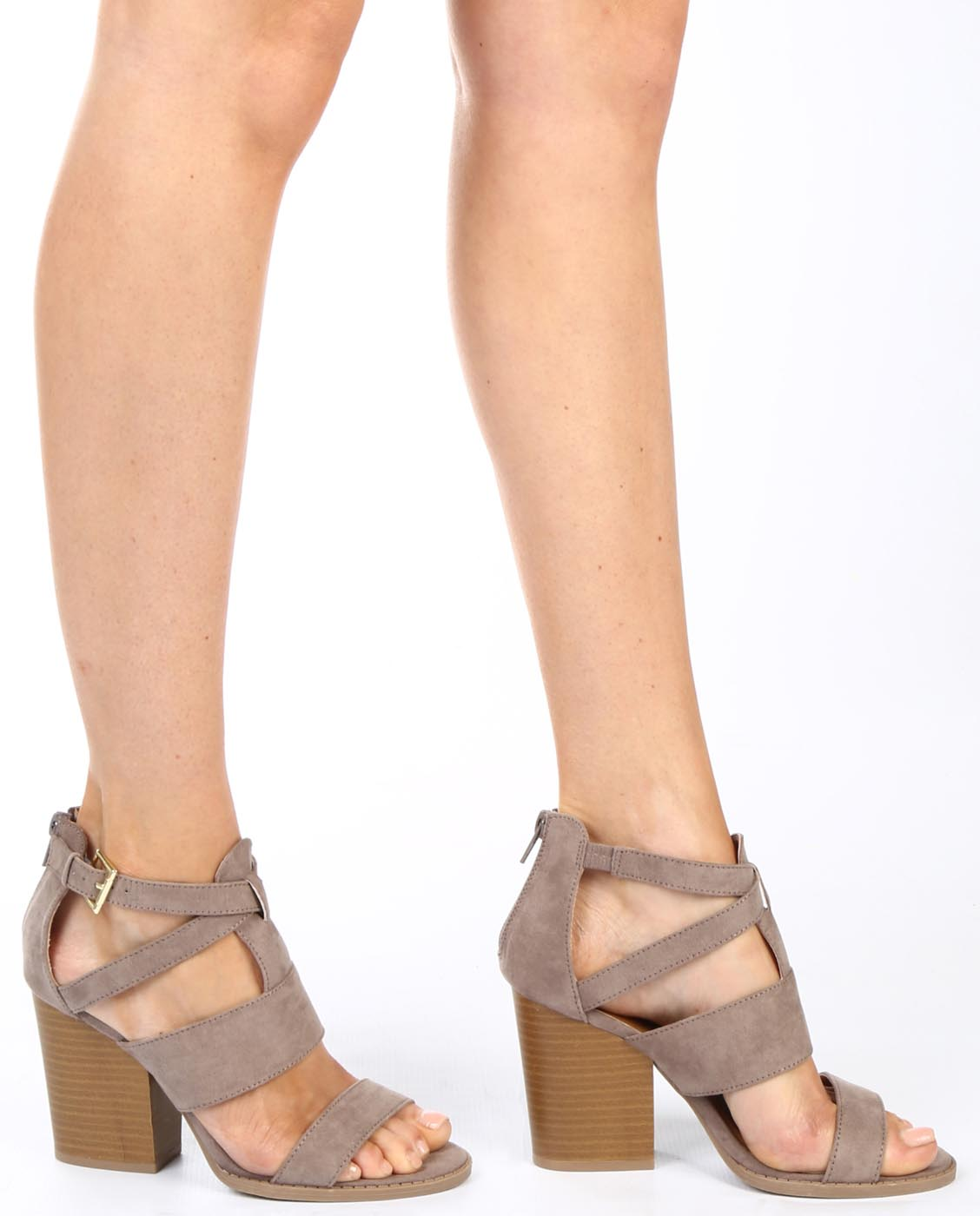 be055b1453b Strappy Faux Suede Chunky Heels