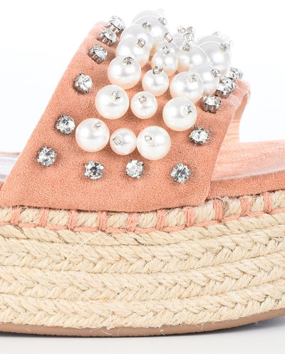 Platform Sandals with Pearls and Rhinestones - Fashion You Up