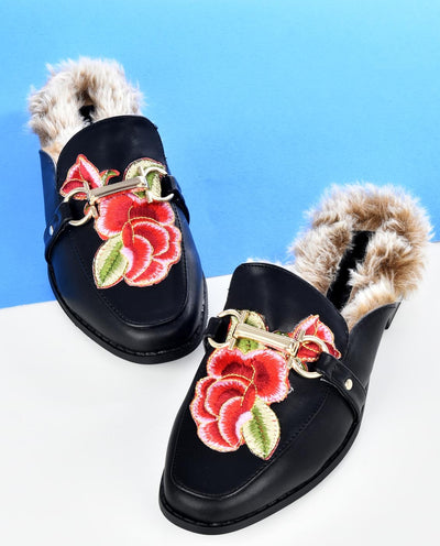 Faux Leather Mules with Faux Fur - Fashion You Up