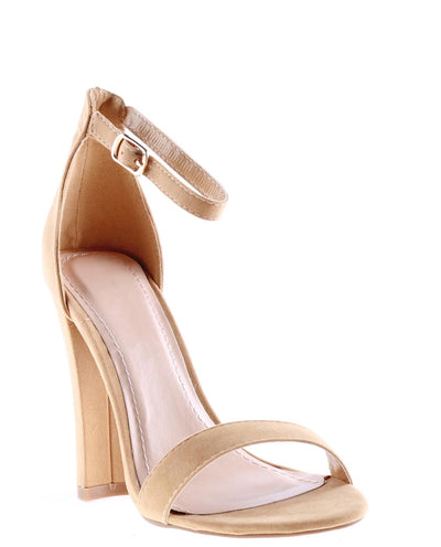 Faux Suede Open Toe Ankle Strap Heels - Fashion You Up