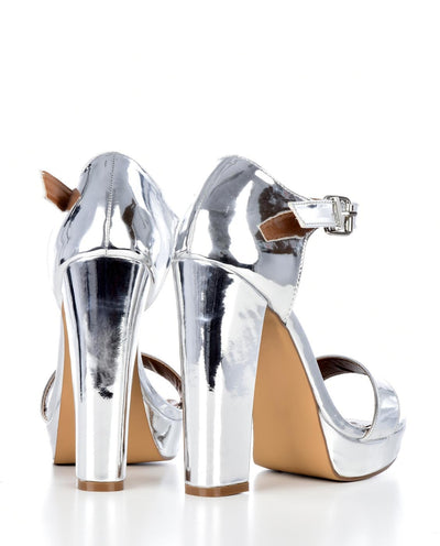 Metallic Peep Toe Platform Heels - Fashion You Up