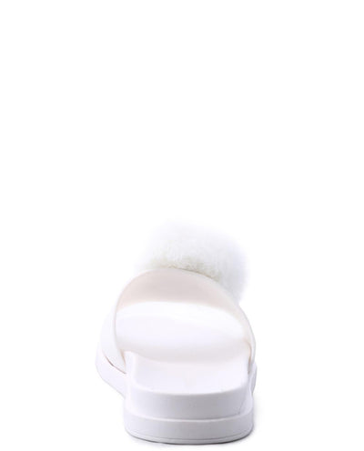 Faux Fur Pom Pom Slide Sandals - Fashion You Up