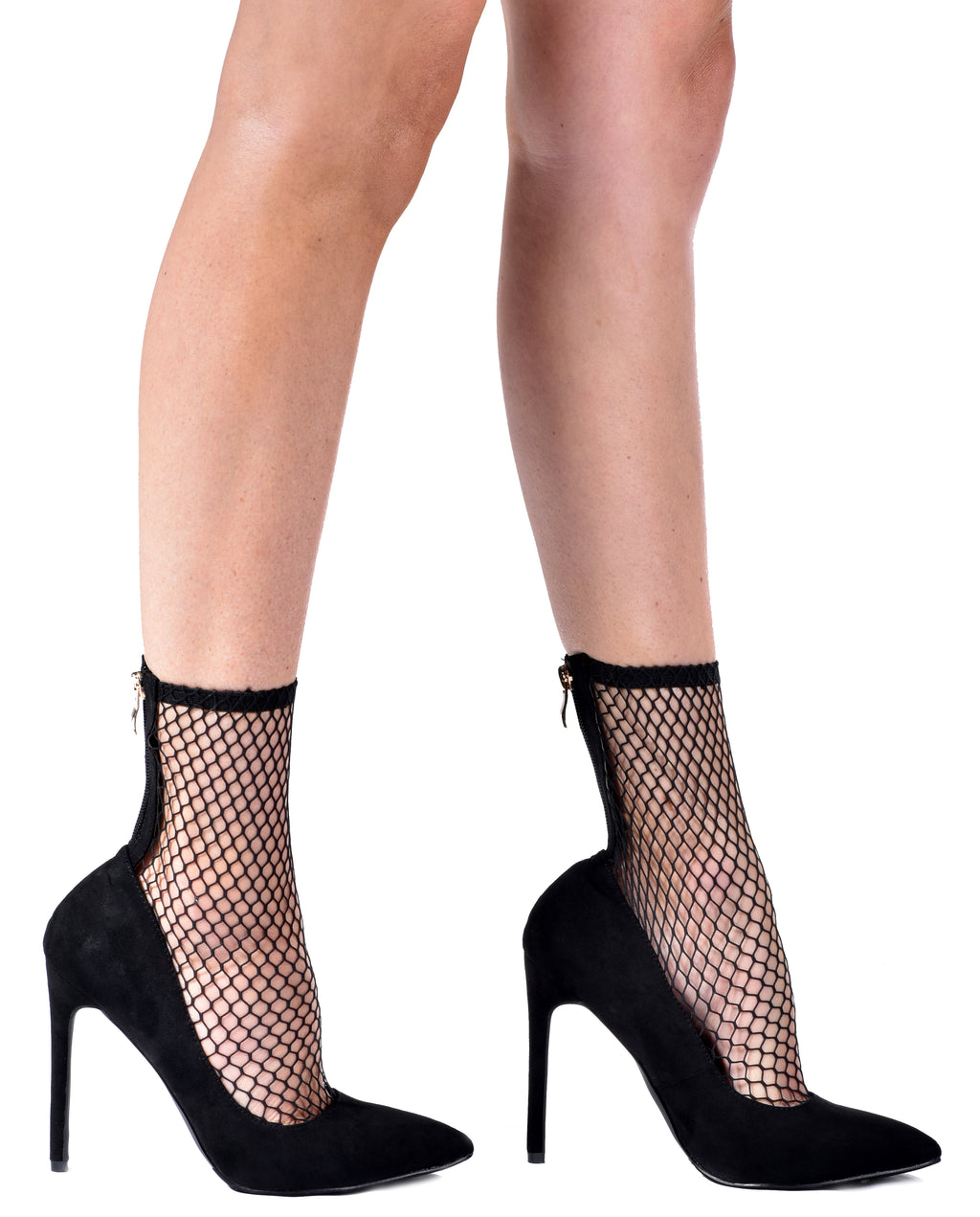 Stretchy Netted Mesh Sock Heels - Fashion You Up