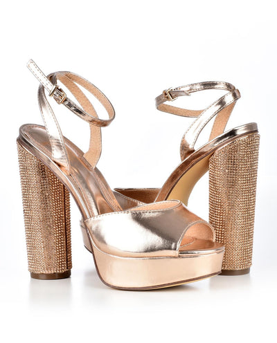 Metallic Peep Toe Heels - Fashion You Up