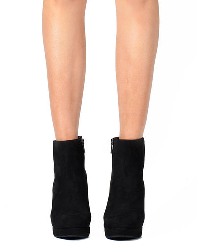 Platform Heel Faux Suede Ankle Boots - Fashion You Up