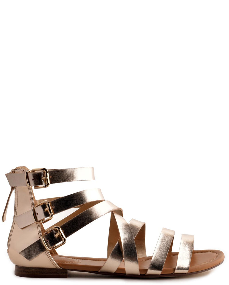 Triple Strap Vegan Leather Gladiator Sandals - Fashion You Up