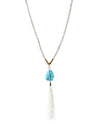 Beaded Stone Drop Tassel Necklace - Fashion You Up