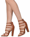 Multi Strappy Buckle Leather Heels - Fashion You Up