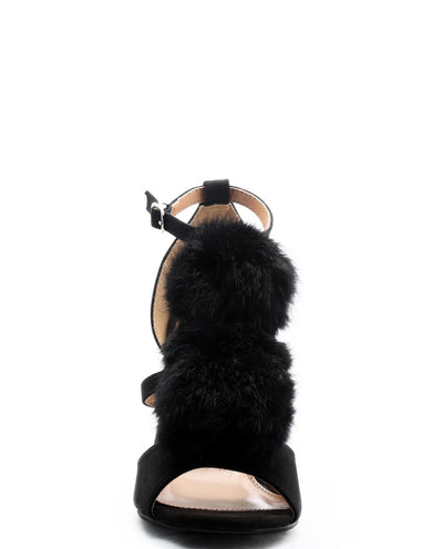 Faux Fur Pom Pom Heels - Fashion You Up