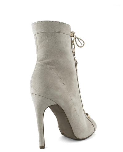 Lace Up Faux Suede Heels - Fashion You Up