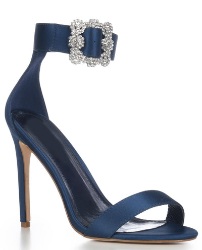 Satin Open Toe Heels with Crystal Buckle - Fashion You Up