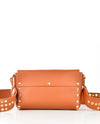 Leather Crossbody Bag with Studded Strap - Fashion You Up