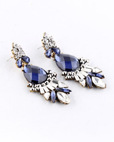 Blue Rhinestone Drop Earring - Fashion You Up