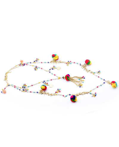 Beaded Pom Pom Necklace - Fashion You Up