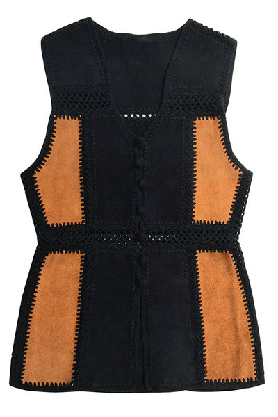 Vintage 1970's Women's Leather Vest with Crochet Seams - Fashion You Up