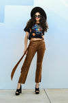 Vintage Inspired Brown Suede Flare Pants - Fashion You Up