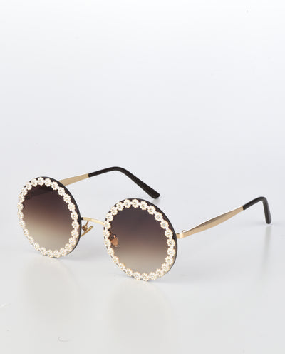 Round Floral Trim Sunglasses - Fashion You Up