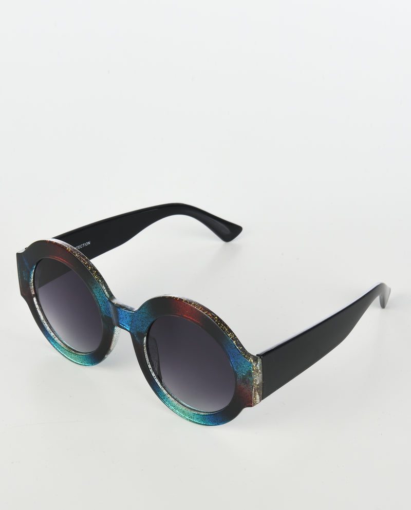 Oversized Colorblock Glitter Round Sunglasses