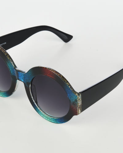 Oversized Colorblock Glitter Round Sunglasses - Fashion You Up