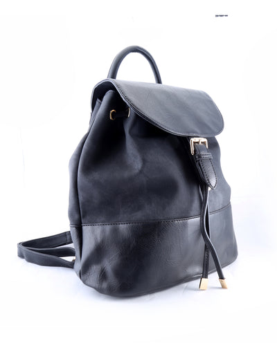 Flap-Top Vegan Leather Backpack - Fashion You Up