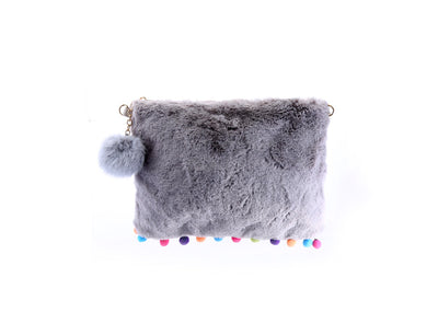 Fur Purse with Pom Poms - Fashion You Up
