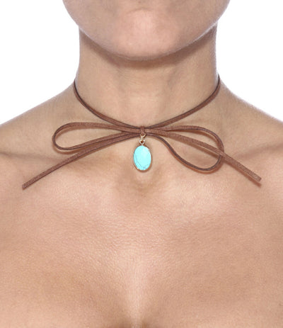 Stone Pendant Suede Wrap Choker - Fashion You Up
