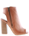 Peep Toe Cut Out Faux Leather Booties - Fashion You Up