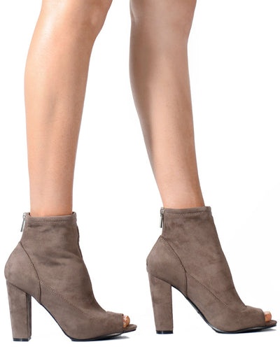 Peep Toe Faux Suede Ankle Booties - Fashion You Up