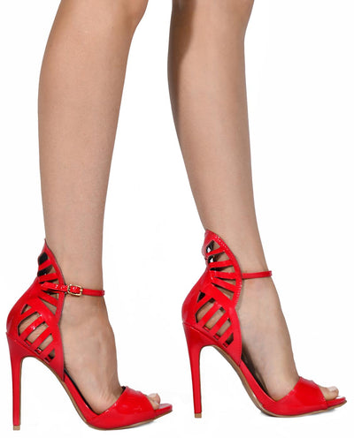 Strappy Patten Leather Heels - Fashion You Up