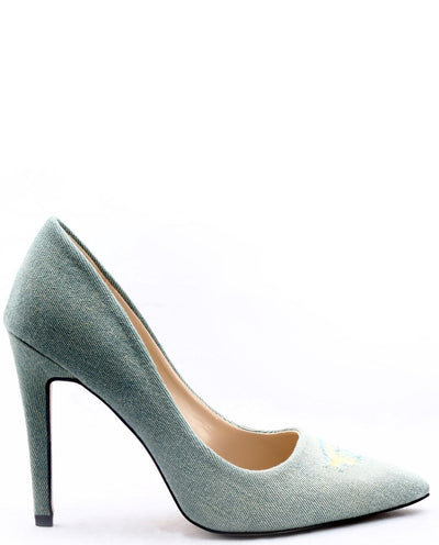 Distressed Denim Pumps - Fashion You Up