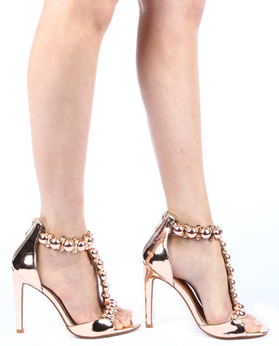 Metallic Pom Pom Ankle Strap Heels - Fashion You Up