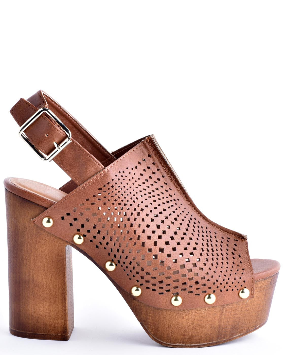70s Style Wooden Slingback Leather