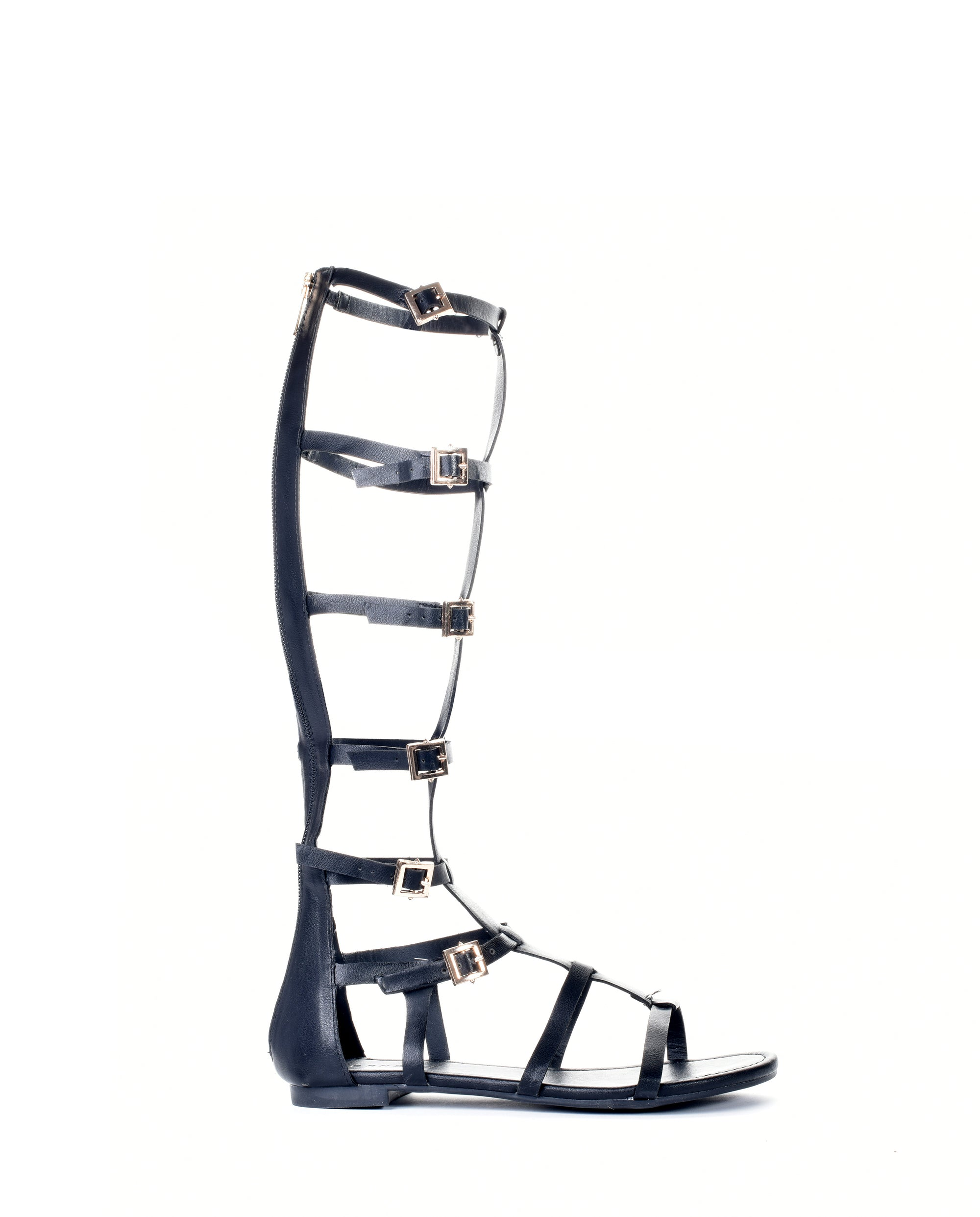1528bf12a Knee High Caged Gladiator Strappy Flat Sandals - Fashion You Up