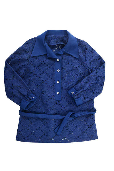 Vintage 70s Navy Blue Eyelet Belted Blouse - Fashion You Up