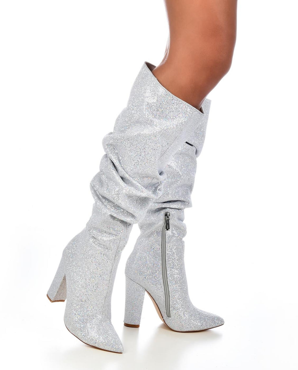 Knee High Glitter Slouch Boots - Fashion You Up