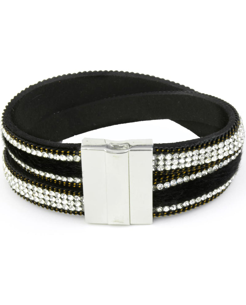 Wrap Faux Fur and Rhinestone Bracelet - Fashion You Up