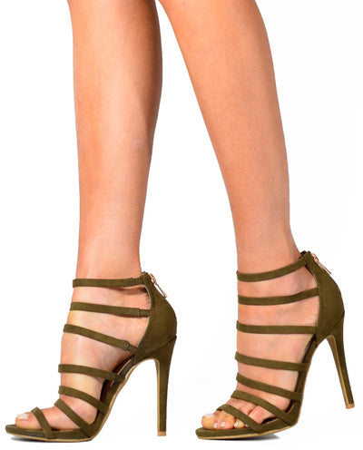 Strappy Faux Suede Heels - Fashion You Up