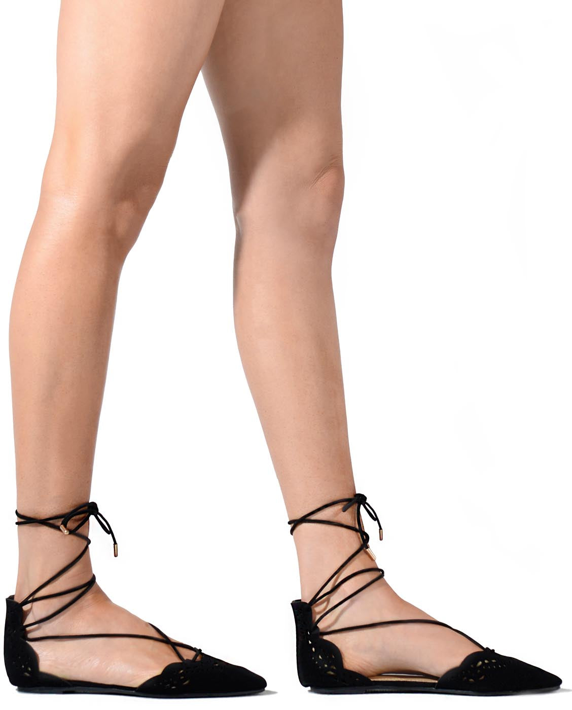 257ed7ab0 Lace Up Pointed Ballet Flats - Fashion You Up