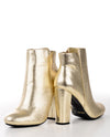 Gold Textured Mod Faux Leather Bootie - Fashion You Up