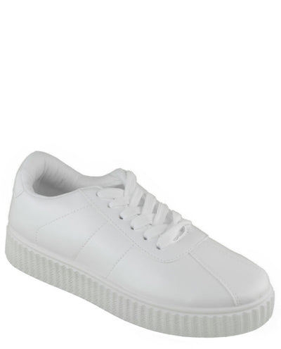Faux Leather Platform Sneakers - Fashion You Up
