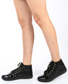 Faux Patent Leather Quilted High Top Sneakers - Fashion You Up