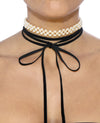 Wrap Around Suede and Pearl Choker - Fashion You Up