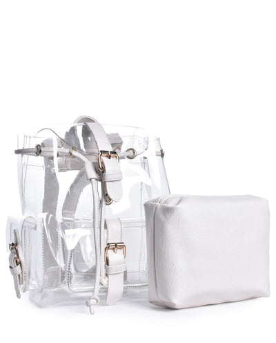 Acrylic Backpack with Leather Accents - Fashion You Up