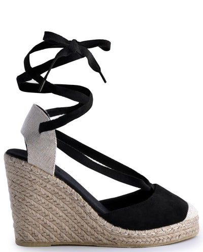Lace Up Wedge Sandal Suede Pu Sandals - Fashion You Up