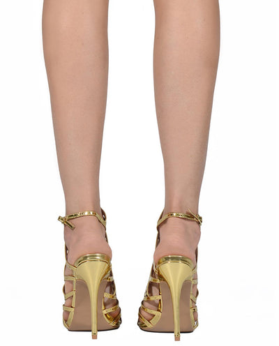 Metallic Strappy Laser Cut Pu Leather Heels - Fashion You Up