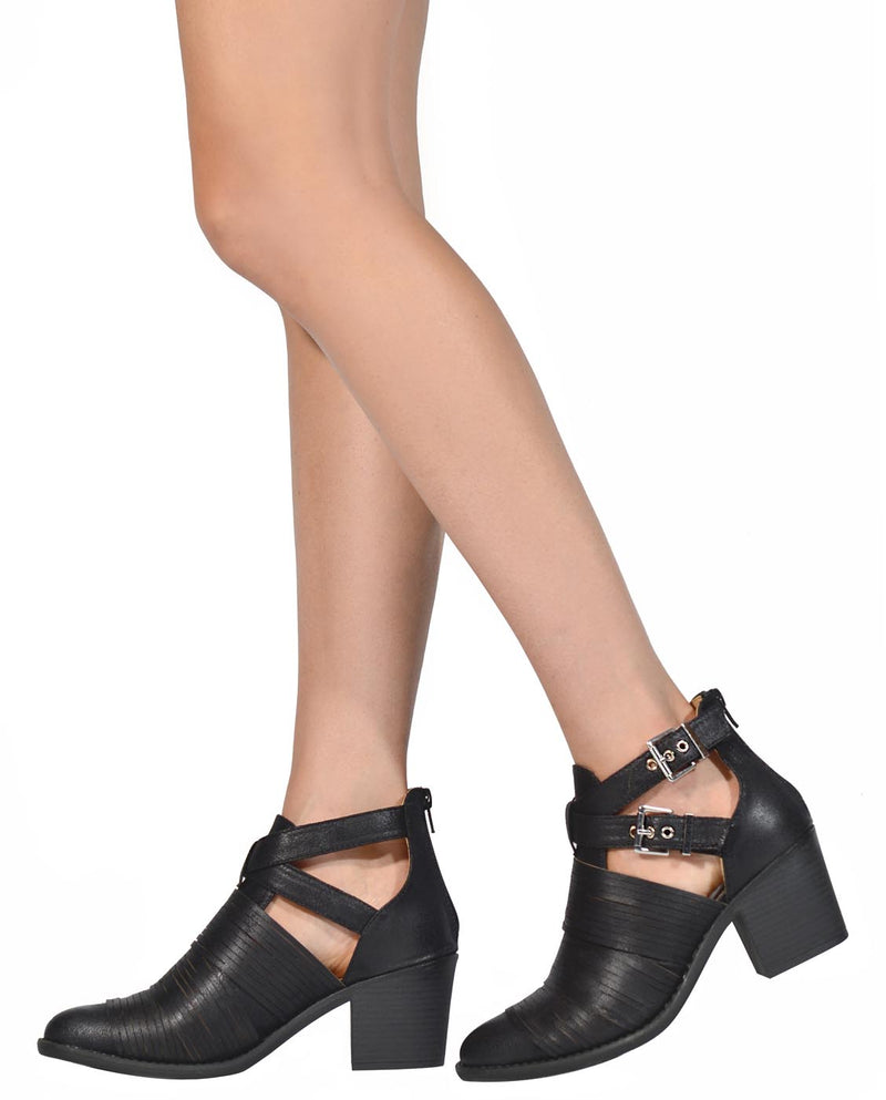 Cutout Faux Leather Booties - Fashion You Up