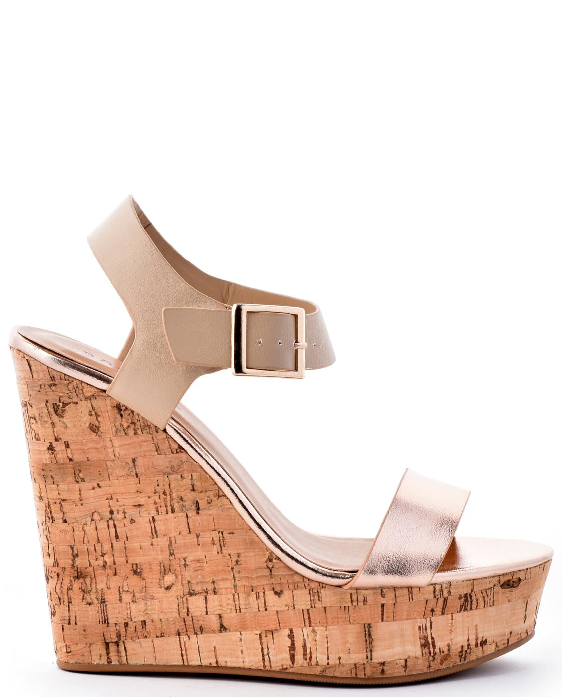 Gold Cork Rose Wedges Metallic Leather MpGqUVSz