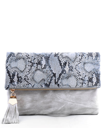 Faux Snake Skin Folded Clutch - Fashion You Up