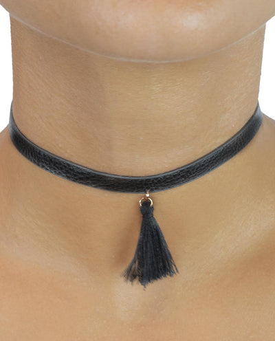 Faux Leather Tassel Choker - Fashion You Up