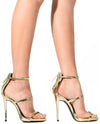 Triple Strap Faux Leather Heels - Fashion You Up